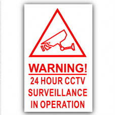 1 x Red on White-130mm-Camera Warning 24 Hour CCTV Surveillance In Operation Stickers-Closed Circuit Television Security-Self Adhesive Vinyl Signs